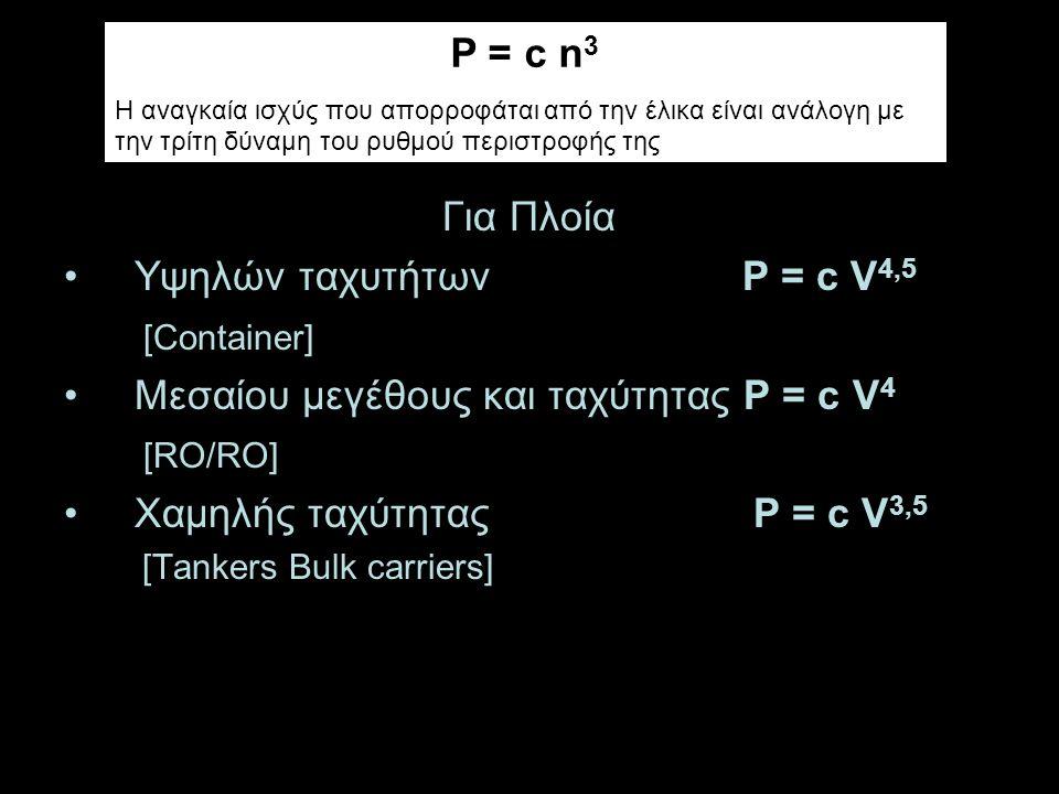 Μεσαίου μεγέθους και ταχύτητας P = c V4 [RO/RO]